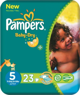 Pampers New Baby Dry Junior  No5 (11-23kg) 23τεμάχια