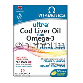 Vitabiotics Ultra 2 in 1 Cod Liver Oil Capsules, 60's
