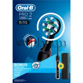 Oral-B Ηλεκτρική Οδοντόβουρτσα Pro 2 2500 CrossAction Black Edition + Travelcase
