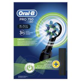 Oral-B Ηλεκτρική Οδοντόβουρτσα Pro 750 CrossAction Black Edition + Travelcase