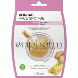 Vican Wise Beauty Konjac Face Sponge Ginger Powder 1Τεμάχιο