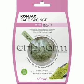 Vican Wise Beauty Konjac Face Sponge Green Tea Powder 1Τεμάχιο
