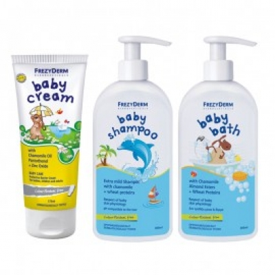 Frezyderm Promo Baby Cream 175 ML & Baby Bath 300ML & Baby Shampoo 300ML