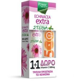 Power Health Echinacea Extra Στέβια 24 Aναβράζοντα Δισκία + Vitamin C 500mg 20Αναβράζοντα Δισκία