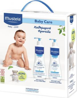 Mustela Promo Gentle Cleansing Gel 500ml & Hydra-Bebe Body Lotion 500ml με Δώρο Αρκουδάκι