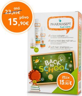 Pharmasept X-Lice Cologne 100ml + Kid Extra Mild Deo Roll-On 50ml + Soft Hair Shampoo 300ml
