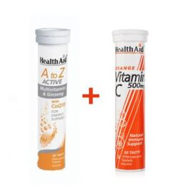 Health Aid A to Z Active Multi+CoQ10 20 Eff. tabs + Health Aid Vitamin C Πορτοκάλι 500mg 20 Eff tabs
