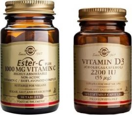 Solgar Ester-C Plus Vitamin C 1000mg 30 ταμπλέτες και Vitamin D3 2200iu 50 κάψουλες