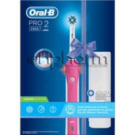 Oral-B Ηλεκτρική Οδοντόβουρτσα Pro 2 2500 CrossAction Pink Edition + Travelcase